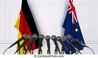 banderas, de, alemania, y, australia, en, internacional, reunión, o, conference., 3d, interpretación