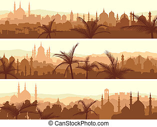 banderas, de, grande, árabe, ciudad, en, sunset.