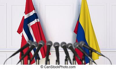 banderas, de, noruega, y, colombia, en, internacional, reunión, o, conference., 3d, interpretación