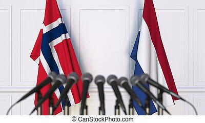 banderas, de, noruega, y, países bajos, en, internacional, reunión, o, conference., 3d, interpretación