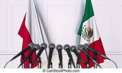 banderas, de, polonia, y, méxico, en, internacional, reunión, o, conference., 3d, interpretación