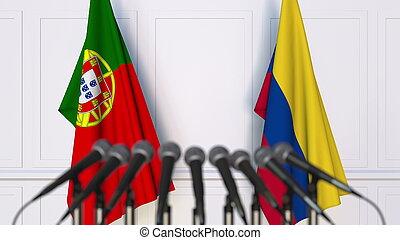 banderas, de, portugal, y, colombia, en, internacional, reunión, o, conference., 3d, interpretación
