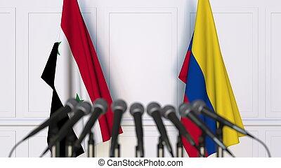 banderas, de, siria, y, colombia, en, internacional, reunión, o, conference., 3d, interpretación