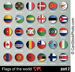 banderas, de, todos, países, con, sombras