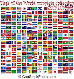 banderas del mundo, contra, blanco