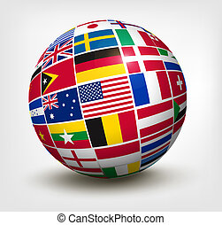 banderas del mundo, en, globe., vector, illustration.