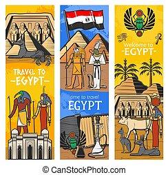 banderas, egipto antiguo, bienvenida, señal, viaje