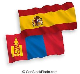 banderas, españa, plano de fondo, blanco, mongolia