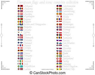 banderas europeas, y, iconos, colección