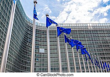 banderas, europeo, bruselas