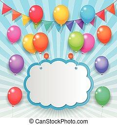 banderas, globo, cielo, plano de fondo, fiesta