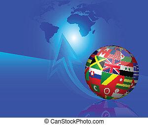 banderas, globo, en, azul, flecha, backgroun