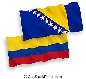 banderas, herzegovina, colombia, fondo blanco, bosnia