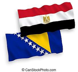 banderas, herzegovina, egipto, fondo blanco, bosnia