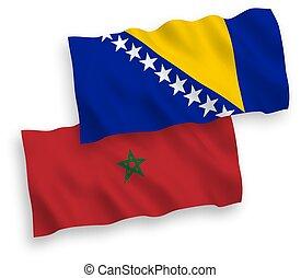 banderas, herzegovina, fondo blanco, marruecos, bosnia
