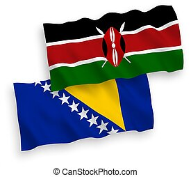 banderas, herzegovina, kenia, fondo blanco, bosnia