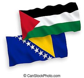 banderas, herzegovina, palestina, fondo blanco, bosnia
