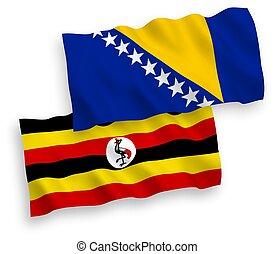 banderas, herzegovina, uganda, fondo blanco, bosnia