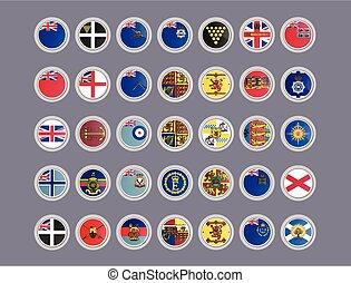 banderas, icons., conjunto, unido, kingdom., vector
