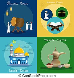 banderas, kareem, vector, ilustración, ramadan, set., diseño
