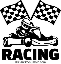 banderas, kart, meta, carreras