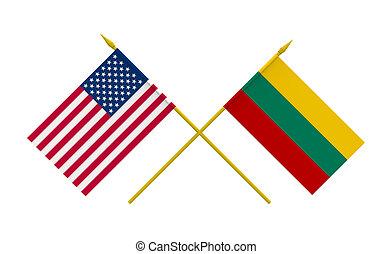 banderas, lituania, estados unidos de américa