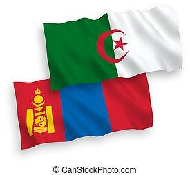 banderas, mongolia, plano de fondo, blanco, argelia