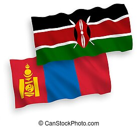 banderas, mongolia, plano de fondo, kenia, blanco