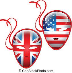 banderas, norteamericano, máscara, británico