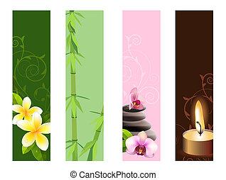 banderas, orquídeas, vertical, piedras, colección, bambú