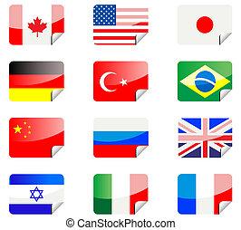 banderas, pegatinas, brillante