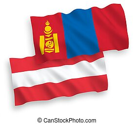 banderas, plano de fondo, blanco, austria, mongolia