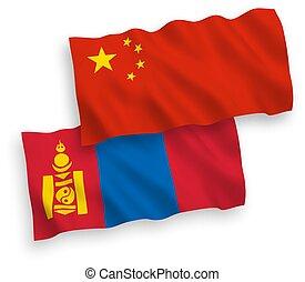 banderas, plano de fondo, blanco, china, mongolia