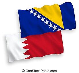 banderas, plano de fondo, bosnia, blanco, bahrein, ...