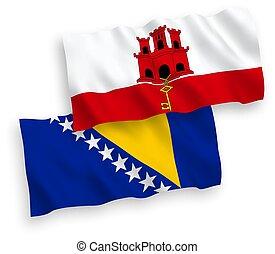 banderas, plano de fondo, bosnia, blanco, gibraltar, ...