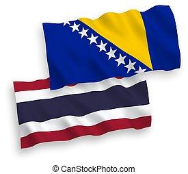 banderas, plano de fondo, bosnia, tailandia, blanco, ...