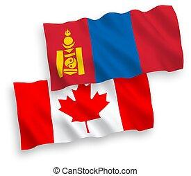 banderas, plano de fondo, canadá, mongolia, blanco