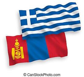 banderas, plano de fondo, grecia, blanco, mongolia