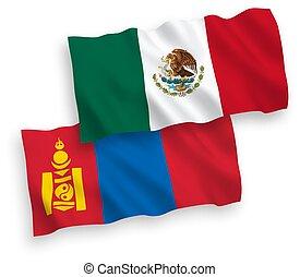 banderas, plano de fondo, mongolia, méxico, blanco