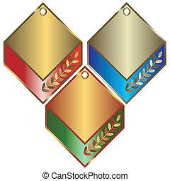 banderas, plata, bronce, oro