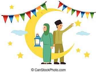 banderas, tenencia, caricatura, luna, estrellas, linterna, ...