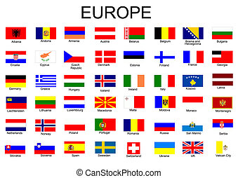 banderas, todos, europeo, lista, país