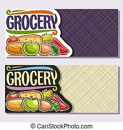 banderas, vector, tiendade comestibles