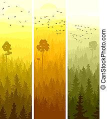 banderas verticales, conífero, wood.