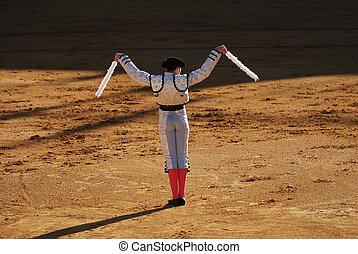 Banderillero in the bullfight arena in Spain