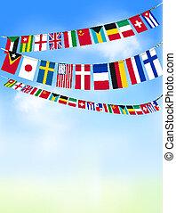 banderitas, azul, sky., ilustración, vector, banderas, mundo