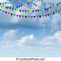 banderitas, banderas, en, un, cielo