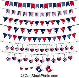 banderitas, conjunto, guirnalda, themed, bandera estadounidense, vector