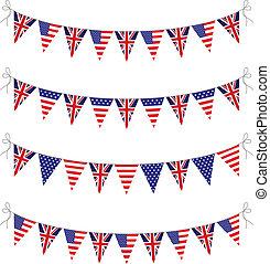 banderitas, estados unidos de américa, reino unido