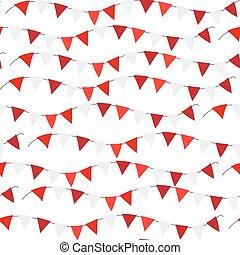 banderitas, illustration., polonia, pattern., seamless, aislado, fondo., rojo, vector, independencia, banderas, repetir, textura, blanco, día, interminable